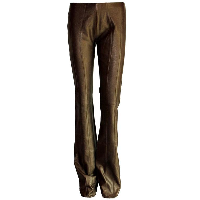Amazing Chocolate Brown Metallic Stretch Leather Pants Leggings For Sale