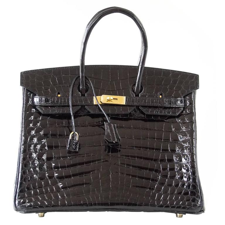 Hermes Black Niloticus Crocodile Gold Hardware Birkin 35 Bag