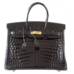 Hermes Birkin 35 Bag Black Niloticus Crocodile Gold Hardware Beautiful Scales