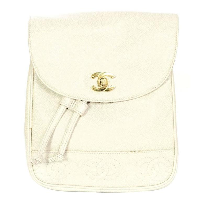 Chanel Vintage Ivory Caviar Leather Leather CC Backpack 1