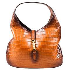 "Gucci Limited Edition $21K Brown Genuine Crocodile ""Jackie"" Shoulder Bag"