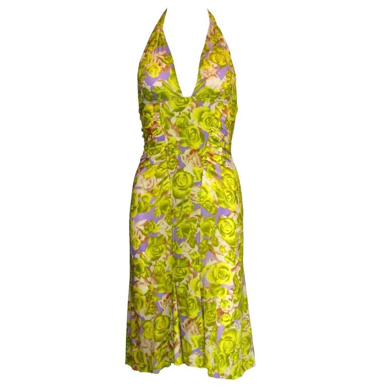 Teri's Stunning Versace Ruched Rose Print Silk Dress For Sale