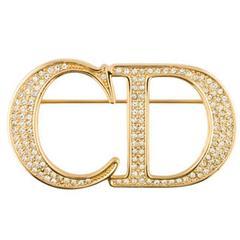 Christian Dior Gold Crystal 'CD' Logo Lapel Pin Brooch