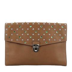Prada Push Lock Portfolio Handbag Studded Saffiano Leather Large