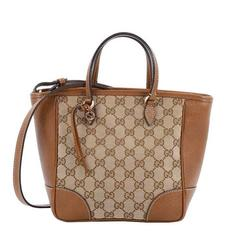 Gucci Bree Top Handle Bag GG Canvas with Leather Small