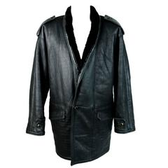Gianni Versace 1980s leather jacket men's motorcycle shearling coat black luxury