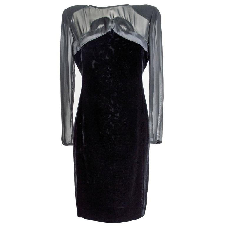 Valentino vintage 80's evening grown dress women's black silk velvet sz 46 italy 1