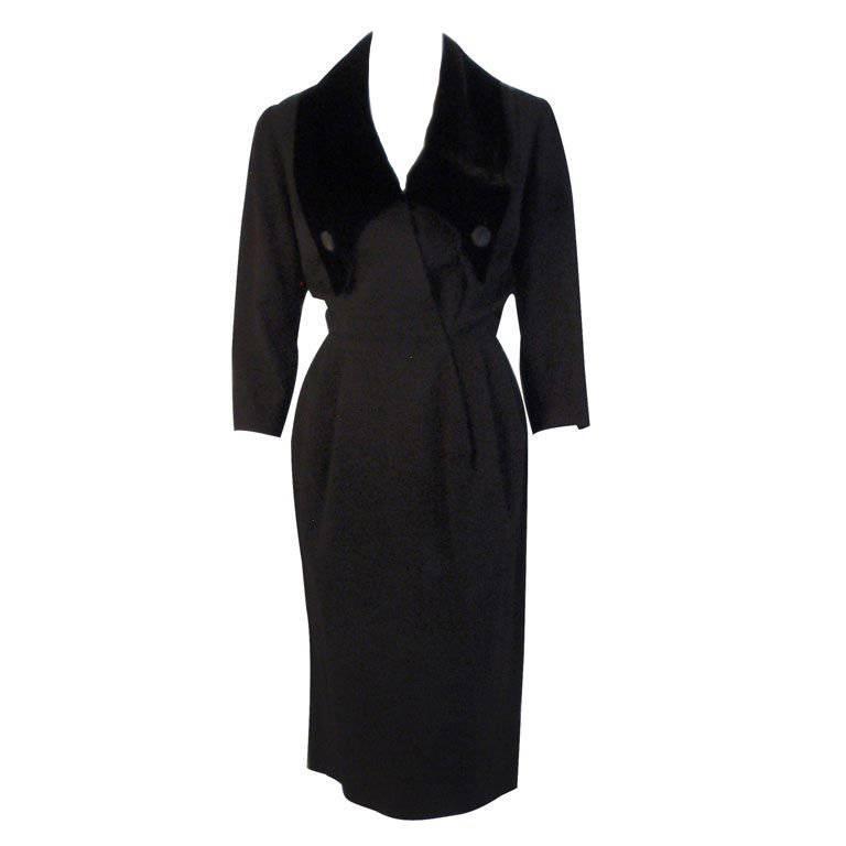 Christian Dior Black Dress with Black Velvet Collar, Circa 1960 1