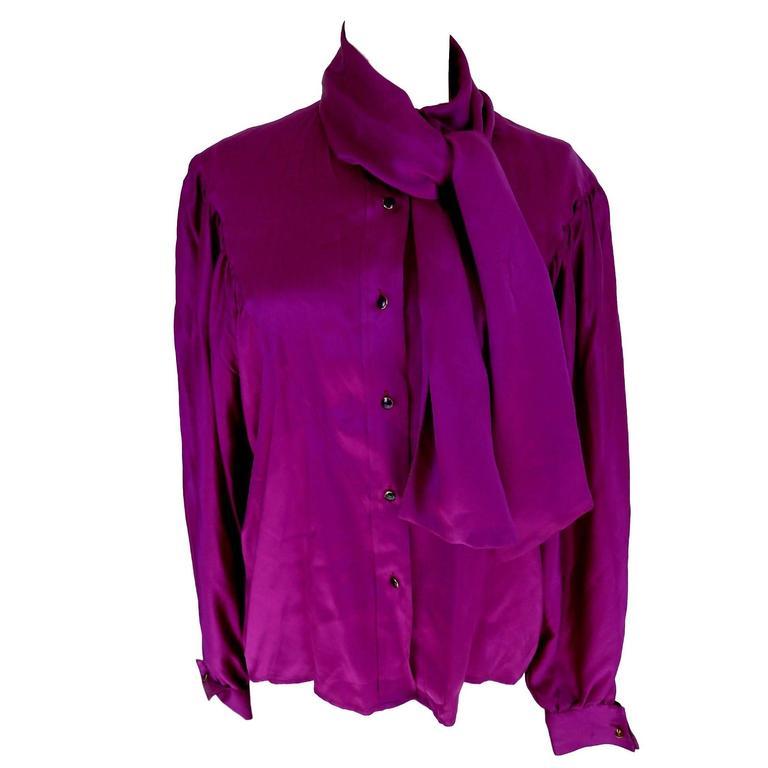 Thierry Mugler vintage 1990s blouse silk women's purple 42 shawl collar balloon