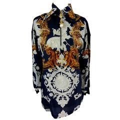 Gianfranco Ferrè baroque vintage blouse blue silk size 38 woman's 1980's