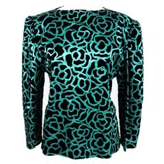 Nina Ricci blouse 1980's vintage baloon sleeves green woman's size 46