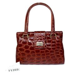 Gianfranco Ferrè 1980s hand bag calfskin Croc-Embossed brown numered purse