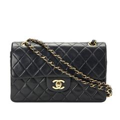 2000s Chanel Black Quilted Lambskin Small Classic Double Flap Bag