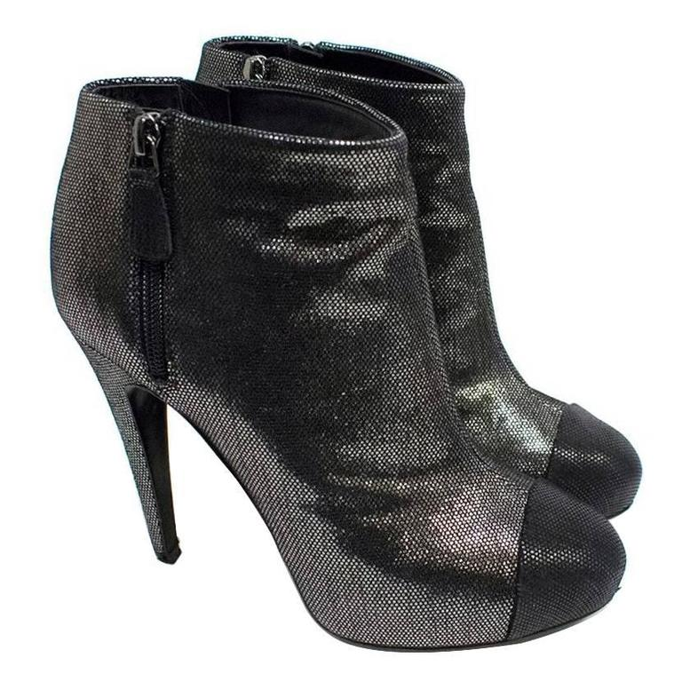 Chanel Metallic Ankle Boots 1