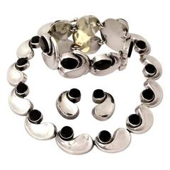 Antonio Pineda Taxco Sterling Silver Parure Necklace Bracelet & Earrings