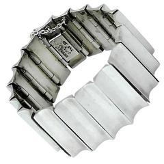Antonio Pineda Taxco Sterling Silver Modernist Concave Bracelet