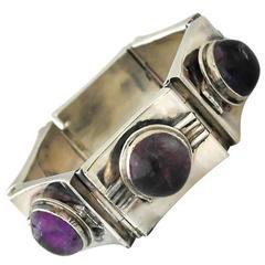 Fred Davis Taxco Sterling Silver & Amethyst Bracelet