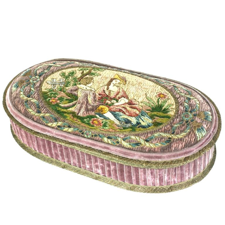 Wonderful  Deco French Boudoir Box with Chenille Embroidery 1