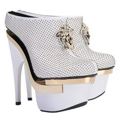 VERSACE White Leather Triple Platform Studded Bootie