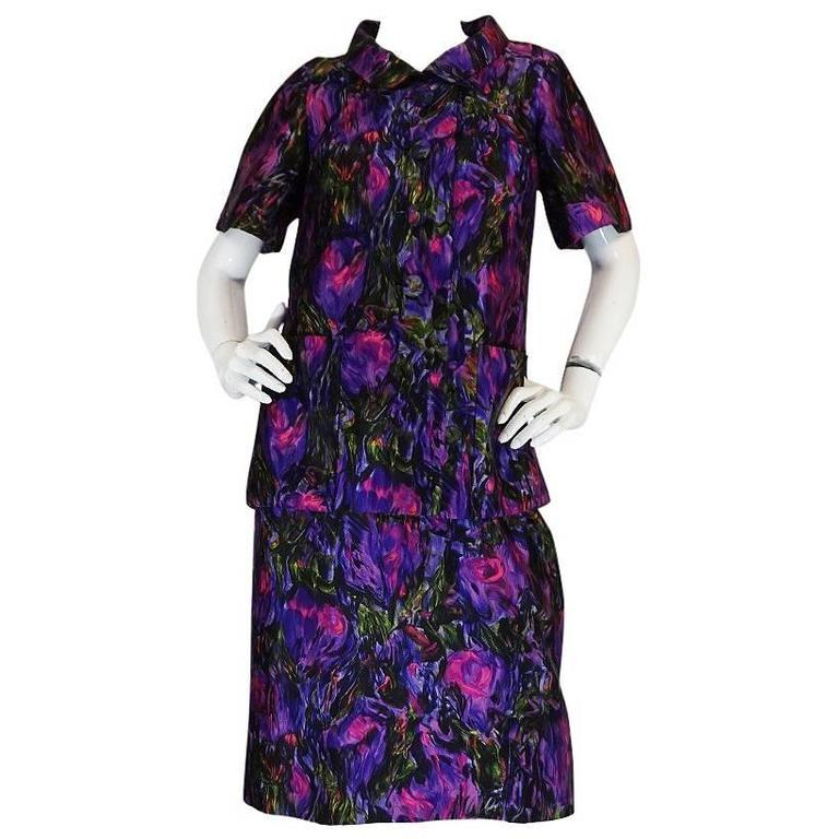 c1958 Christian Dior NY Floral Print Silk Dress & Jacket