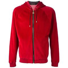Versace Leather Medusa Appliqué Red Velvet Suit for Men