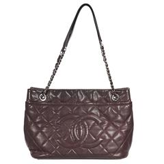 Burgundy Chanel Quilted Leather Tote Bag
