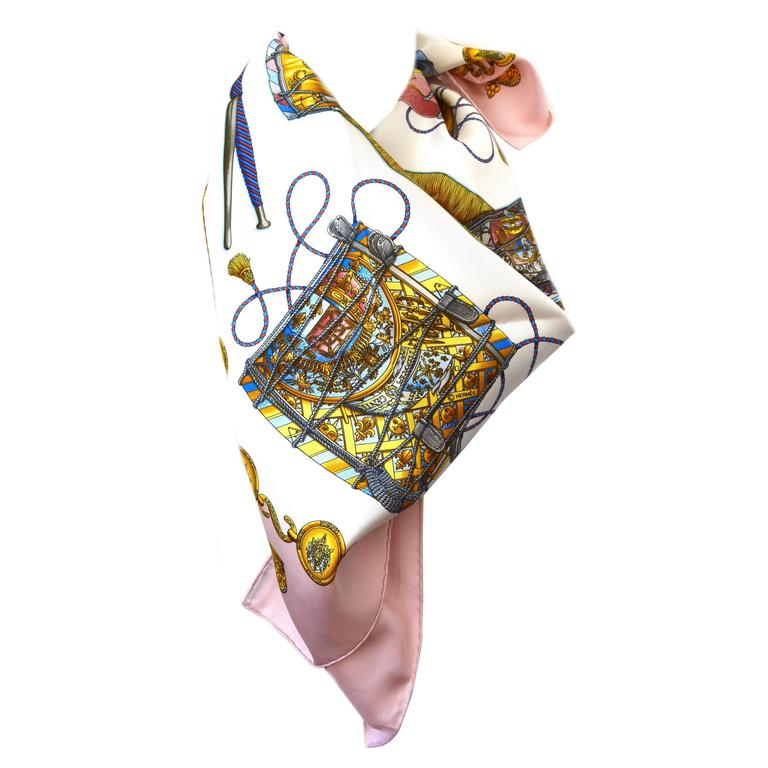 Hermes Les Tambours Pink Silk Scarf For Sale
