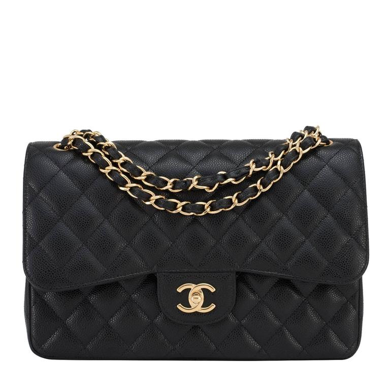 Chanel Black Quilted Caviar Jumbo