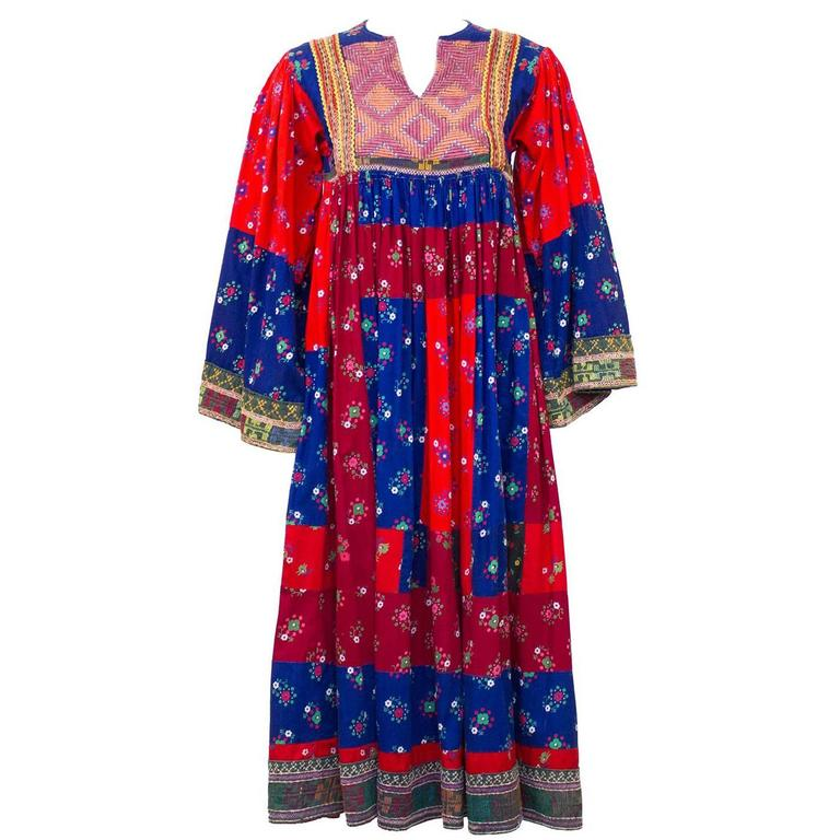 1950s Anonymous Multi Color Ethnic Embroidered Smock Dress 1
