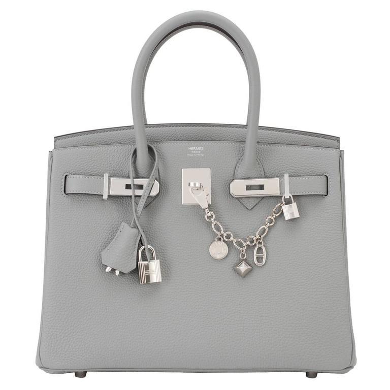Hermes Gris Mouette New Grey 30cm Togo Birkin Bag Palladium Chic 1