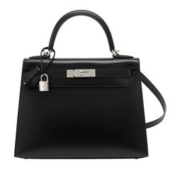Hermes X Stamp Unicorn Black Box 28cm Sellier Palladium Hardware Kelly Bag
