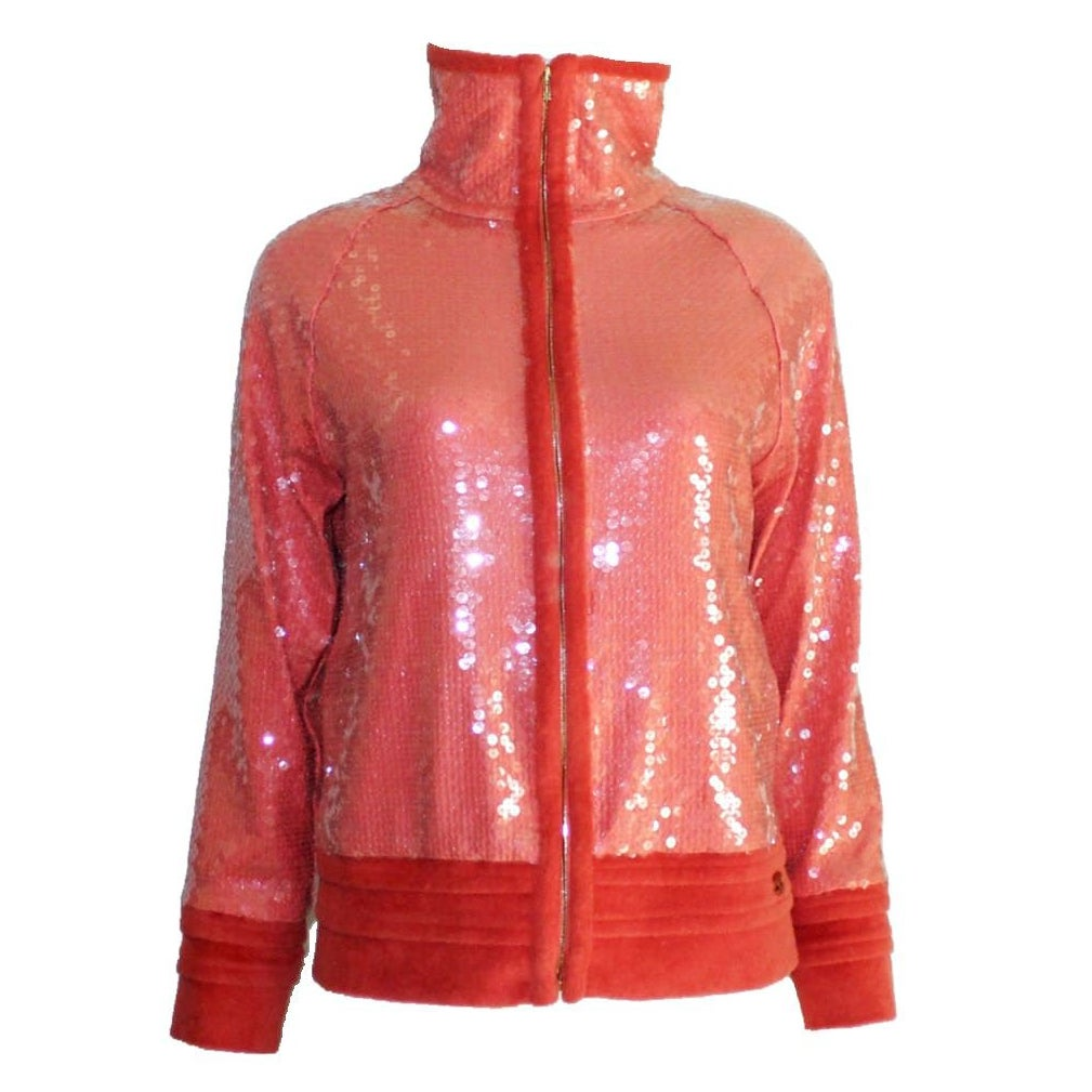 NEW Chanel Coral Sequin Terrycloth Top & Jacket Twin Set Ensemble