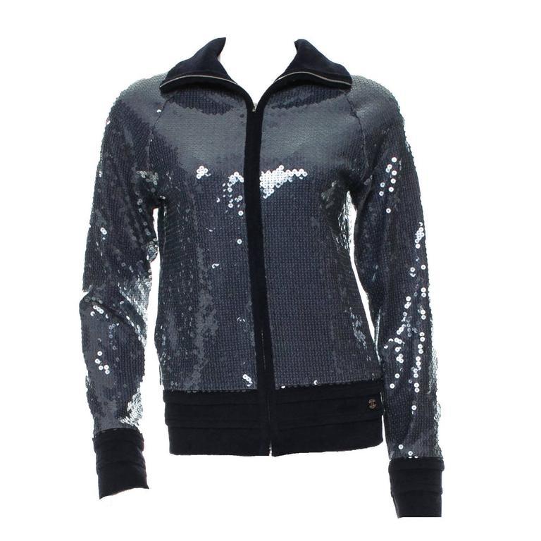 Amazing Chanel Midnight Blue Sequin Jacket