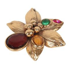 Authentic YVES SAINT LAURENT Gold Metal FLOWER BROOCH w/ GLASS Stones