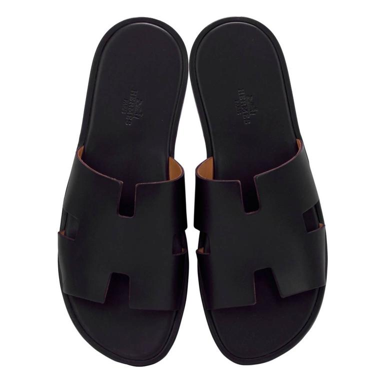 Hermes Men Sandals Izmir Veau Leather Black Color 43 Size