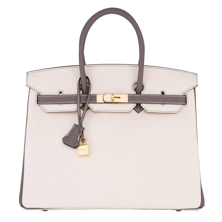 ca0e79da78bd Hermes HSS Craie and Etain Bi-Color 35cm Togo Birkin Horseshoe Stamp  Resplendent For Sale