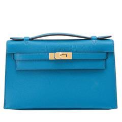 Hermes Blue Izmir Kelly Pochette Clutch Bag Cut Epsom Gold Hardware Gorgeous