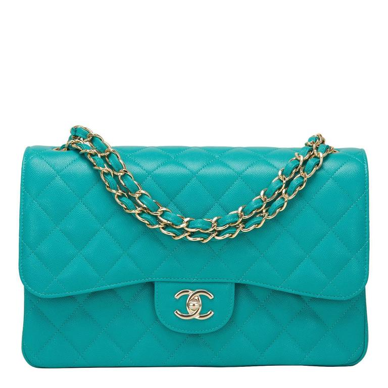 Chanel Turquoise Quilted Caviar Jumbo Classic Double Flap Bag For Sale