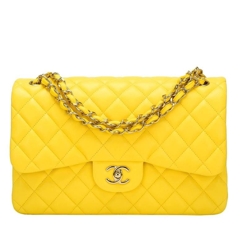 Chanel Yellow Quilted Lambskin Jumbo Classic Double Flap Bag For Sale