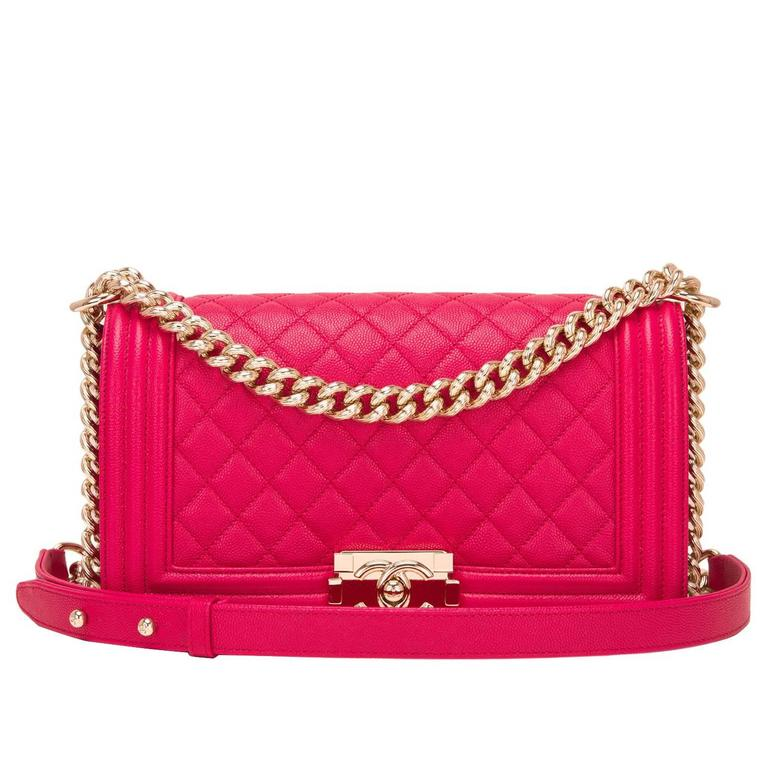 Chanel Fuchsia Caviar Medium Boy Bag For Sale
