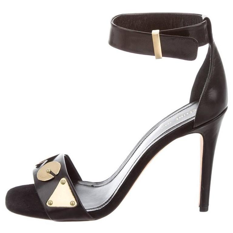 Celine NEW & SOLD OUT Black Leather Gold Mirror Heels in Box 1