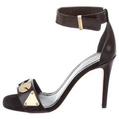 Celine NEW & SOLD OUT Black Leather Gold Mirror Heels in Box