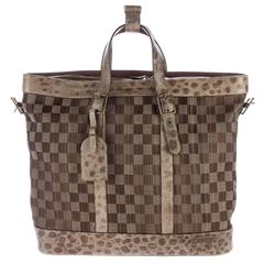 Louis Vuitton NEW RARE LTD ED. Large Brown Leather Travel Weekender CarryAll Bag