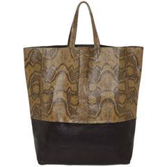 Celine Brown Python/Black Leather Bi-Cabas Tote Bag