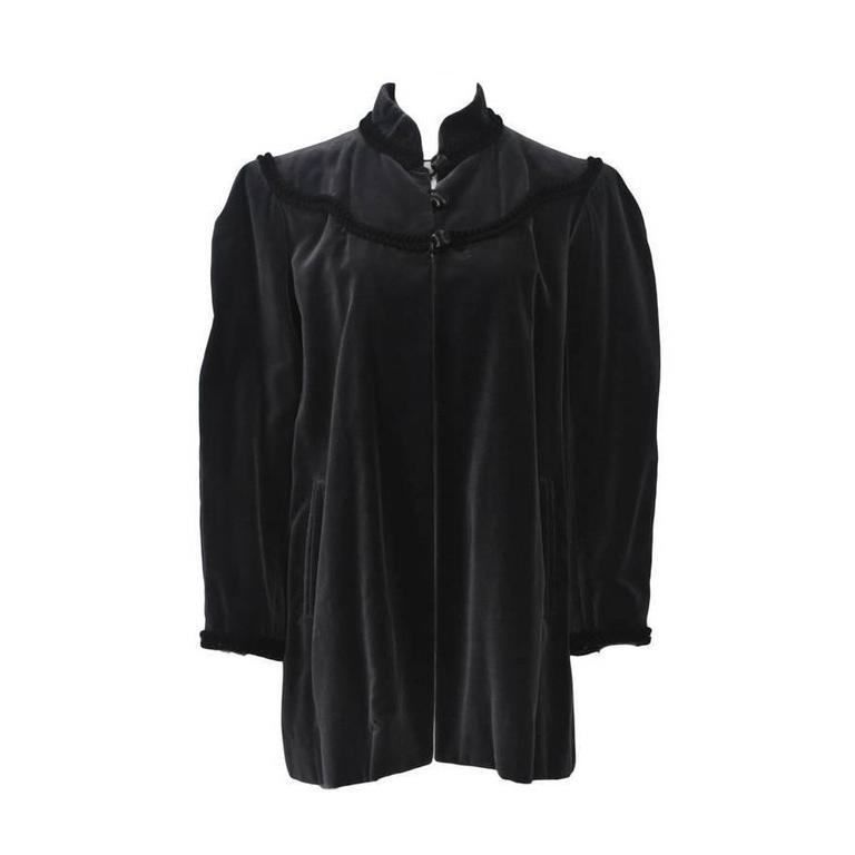 YSL Gray Velvet Jacket For Sale