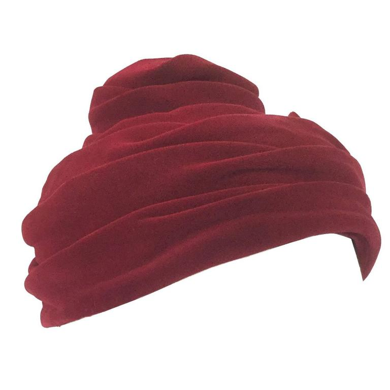1940s Miss Sally Victor Red Velvet Rose Toque Evening Hat