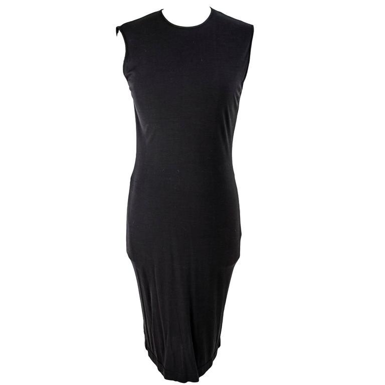 Gianfranco Ferrè 1980s sheath dress women's black silk blend size 40 For Sale