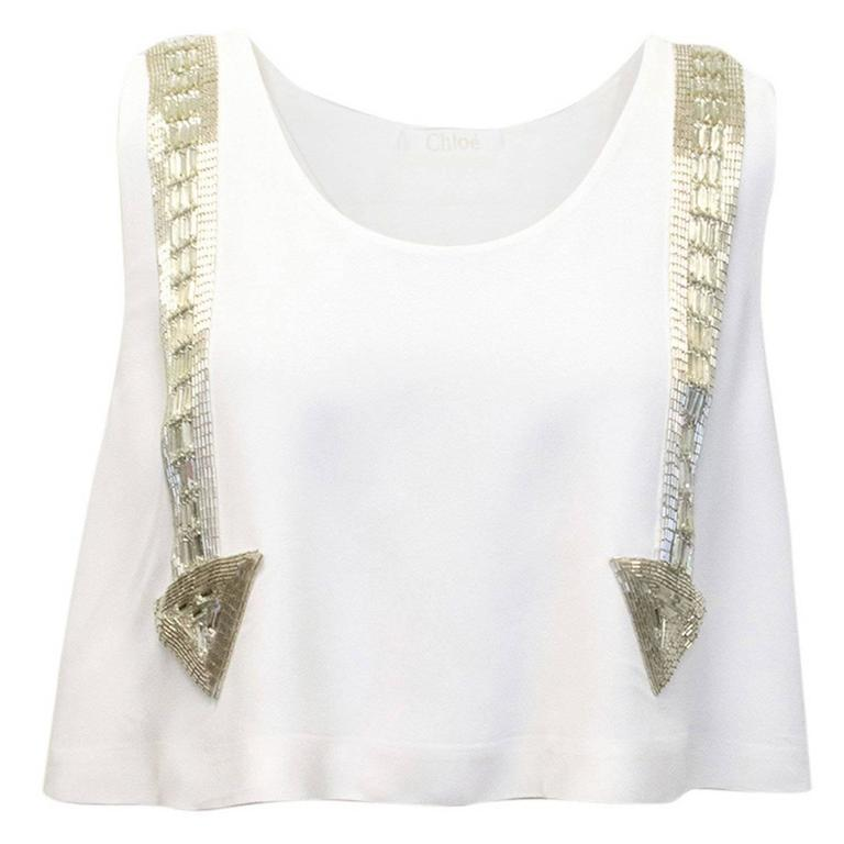 Chloe White Beaded Arrow Top For Sale