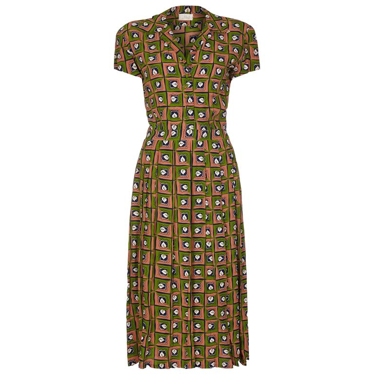 Late 1940s Very Early Suzy Perette Labelled Novelty Leaf Print Rayon Dress