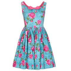1950s Vibrant Turquoise and Pink Cotton Rose Print Dress